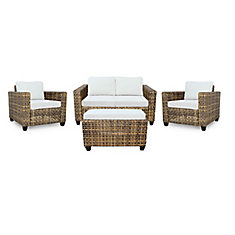 Stockton Wicker 4 PC Chat (avec table basse coussinée)