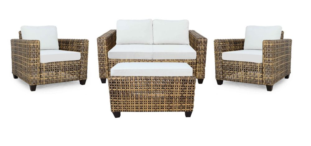 Hampton Bay Stockton Wicker 4 PC  Chat (with Cushioned Coffee Table)