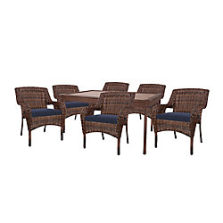 Cambridge 7-Piece Brown Wicker Outdoor Patio Dining Set with Standard Midnight Navy Blue Cushions