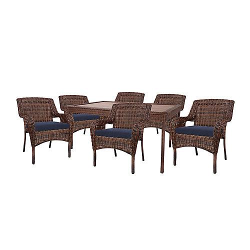 Cambridge Brown Wicker 7-Piece Dining Set w/ Blue Cushions