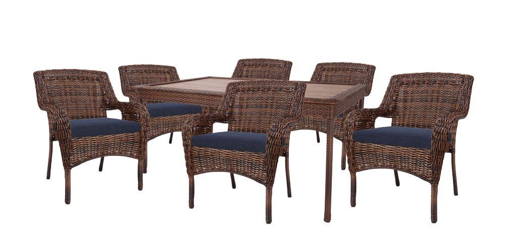 Hampton Bay Cambridge Brown Wicker 7 PC Dining Set w/ Blue Cushions