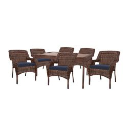 Hampton Bay Cambridge Brown Wicker 7-Piece Dining Set w/ Blue Cushions