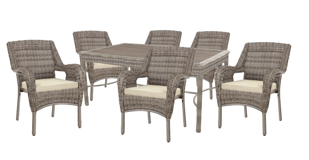Hampton Bay Cambridge Gray Wicker 7 PC Dining Set w/ Beige Cushion