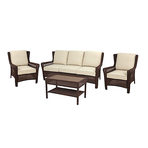 Park Meadows 4-Piece Patio Sofa Set in Brown with Beige Cushions