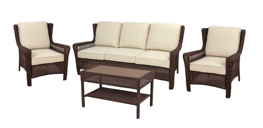 Hampton Bay Park Meadows Brown 4 PC Sofa Set w/ Beige Cushions