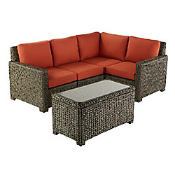 Laguna Point Seagrass Wicker 5-Piece Sectional Set with Quarry Red Cushion