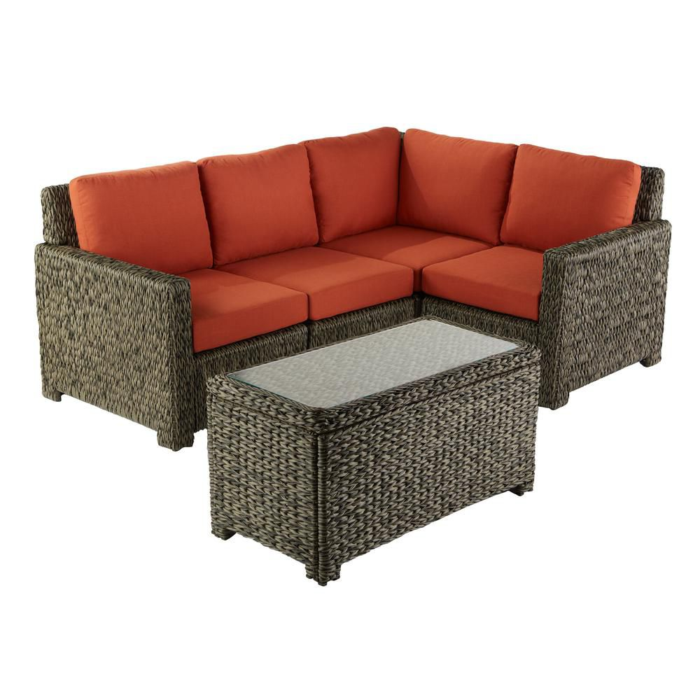 Hampton Bay Laguna Point Seagrass Wicker 5-Piece Sectional Set w/ Quarry Red Cushion