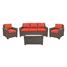 Laguna Point 4-Piece Seagrass Wicker Patio Sofa Set with Quarry Red Cushion