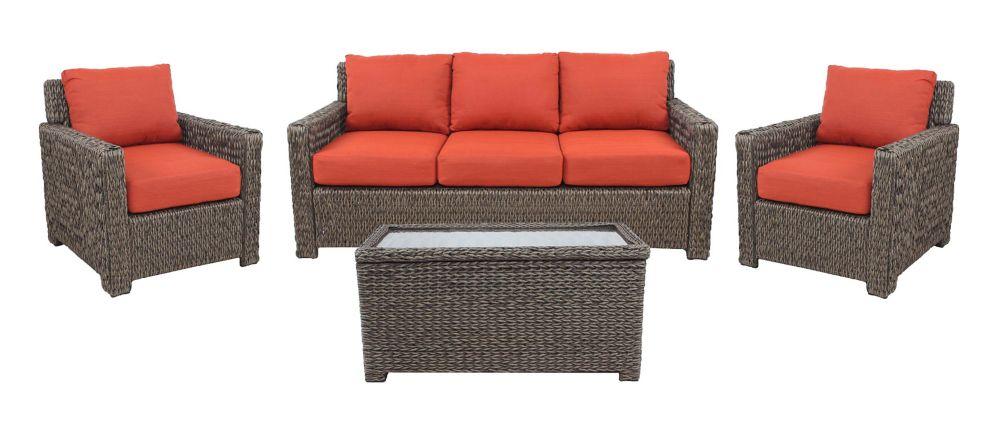 Hampton Bay Laguna Point Seagrass Wicker 4 PC Sofa Set w/ Quarry Red Cushion