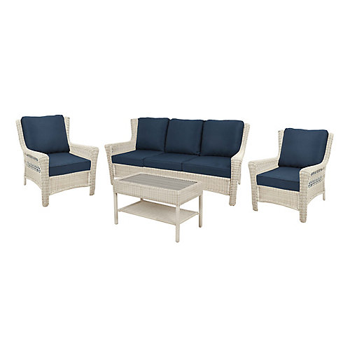 Park Meadows 4-Piece Patio Sofa Set in Off-White with Navy Cushions