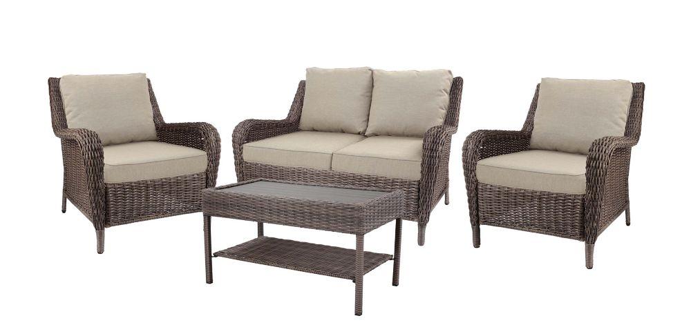 Hampton Bay Cambridge 4-Piece Wicker Patio Conversation Set in Grey with Beige Cushions