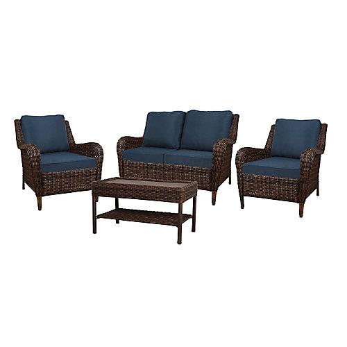 Cambridge Brown Wicker 4-Piece Set w/ Blue Cushion