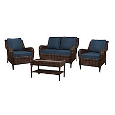 Cambridge 4-Piece Wicker Patio Conversation Set in Brown with Blue Cushions