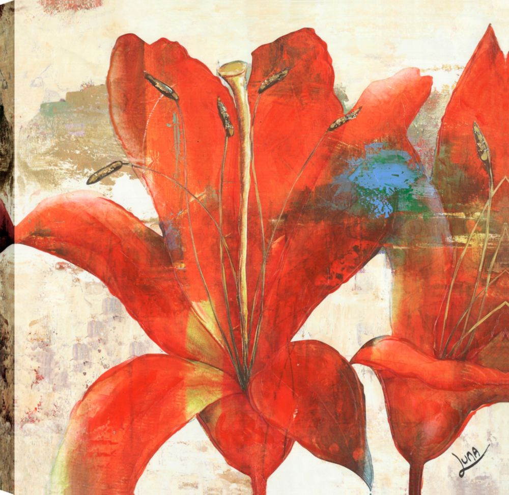 Art Maison Canada Red Floral print I, Floral Art, Canvas Print Wall Art Décor 24X24 Ready to hang