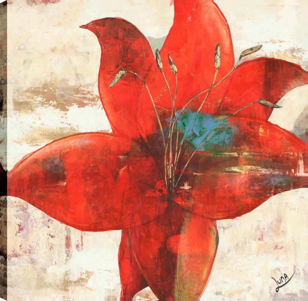 Art Maison Canada Red Floral print II, Floral Art, Canvas Print Wall Art Décor 24X24 Ready to hang