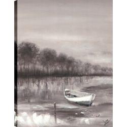 Art Maison Canada River Boat, Landscape Art, Canvas Print Wall Art Décor 40X30 Ready to hang