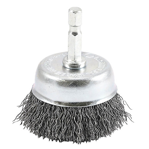 Cup Brush Crimped, 2 inch x .012 inch x 1/4 inch Hex Shank