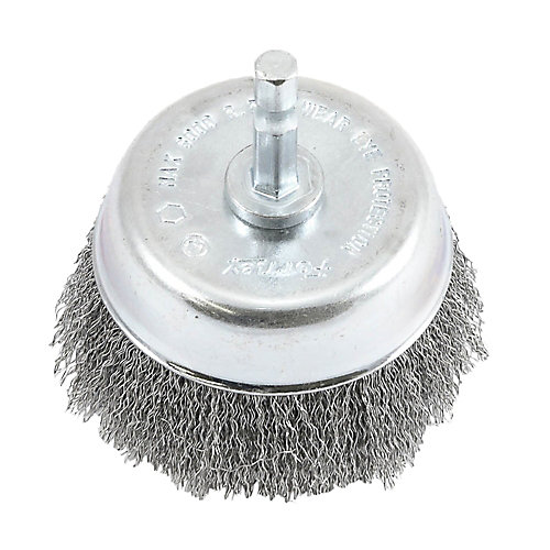 Cup Brush Crimped, 3 inch x .008 inch x 1/4 inch Hex Shank
