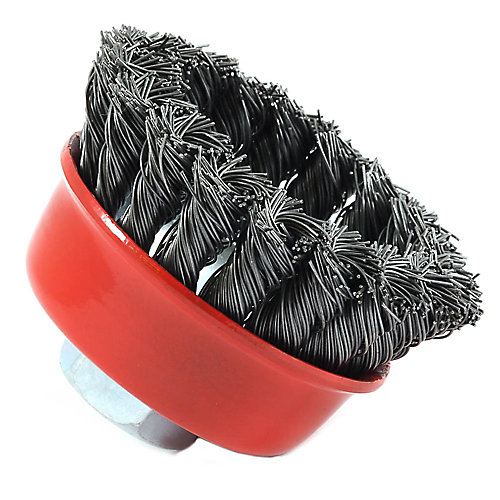 Cup Brush Knotted, 2-3/4 inch x .020 inch x 5/8 inch-11 Arbor