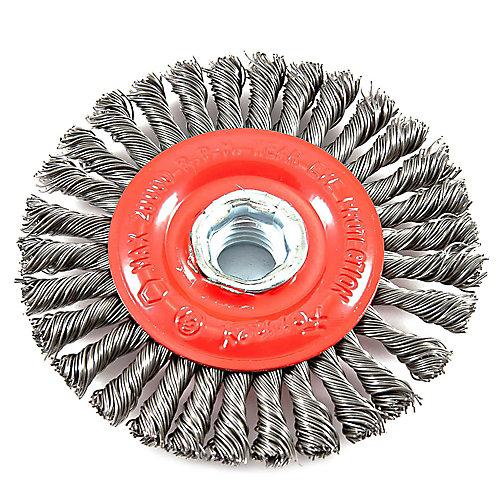 Wire Wheel Brush, Stringer Bead, 4 inch x .020 inch x 5/8 inch-11 Arbor