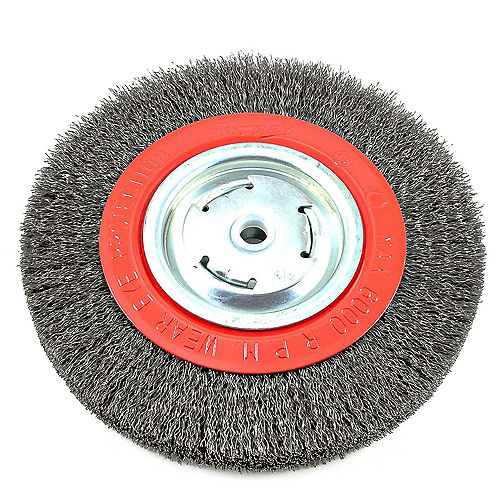 Forney Industries Wire Wheel Crimped, 8 inch x .014 inch x 1/2 inch - 5/8 inch Arbor