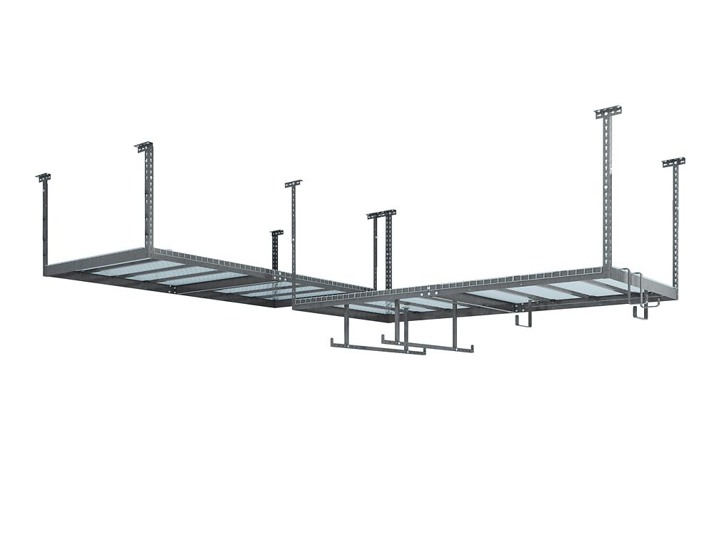 NewAge Products Inc. VersaRac Set in Grey with 2 Overhead Racks and 12-Piece Accessory Kit (Overhead w/ 12pc Hook Kit)