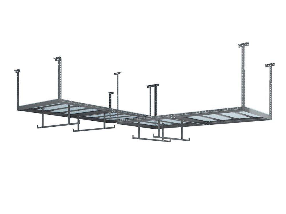 NewAge Products Inc. VersaRac Set in Grey with 2 Overhead Racks and 4 Piece Accessory Kit (2xVersaRac, 2xHanging Bars)