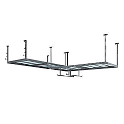 NewAge Products Inc. VersaRac Set in Grey with 2 Overhead Rack and Accessory Kit (2xVersaRac, Hanging Bars, J-Hooks)