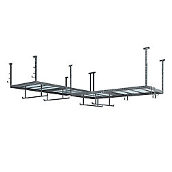 NewAge Products Inc. VersaRac Set of 2 Overhead Storage Racks in Grey with 14-Piece Accessory Kit