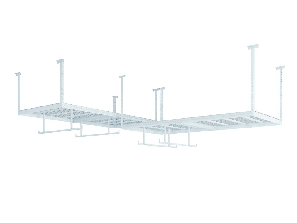 NewAge Products Inc. VersaRac Set in White with 2 Overhead Rack and 4-Piece Accessory Kit (2xVersaRac, 2xHanging Bars)