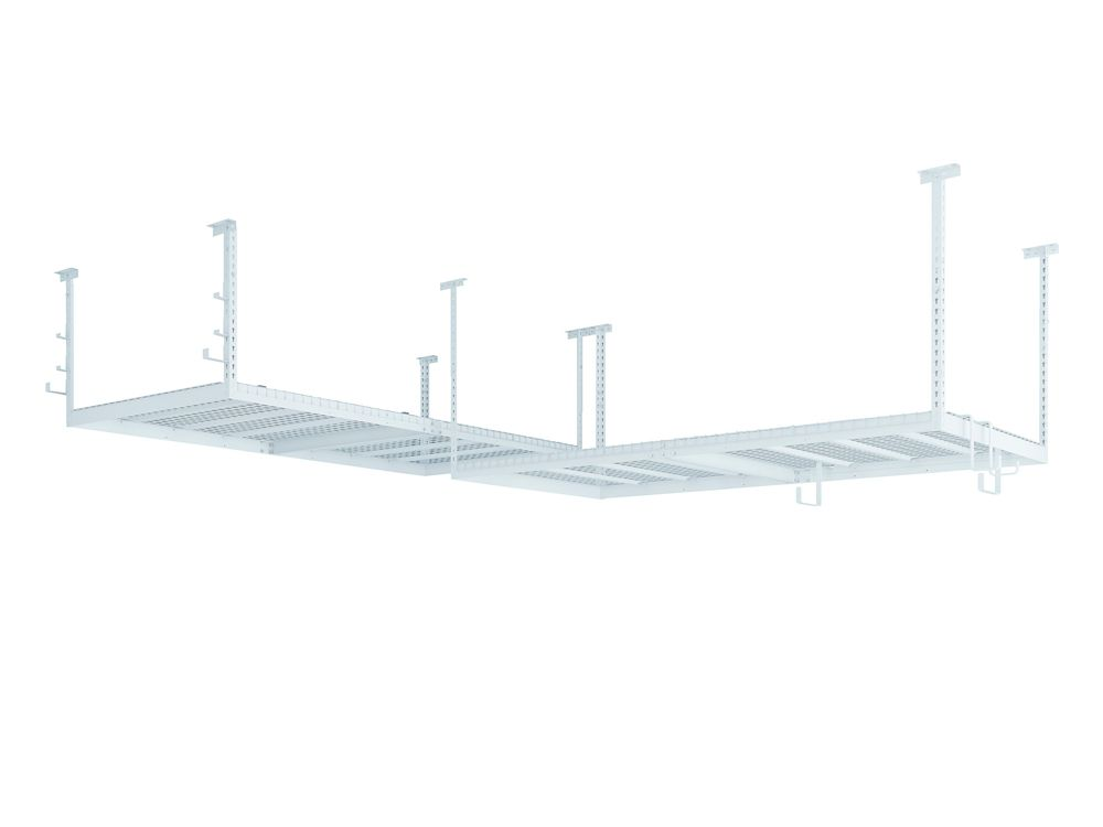 NewAge Products Inc. VersaRac Set in White with 2 Overhead Rack and 10-Piece Accessory Kit (2xVersaRac, J-Hooks, S-Hooks)
