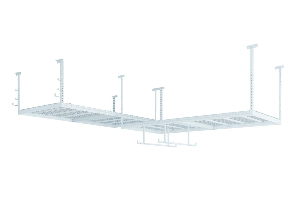NewAge Products Inc. VersaRac Set in White with 2 Overhead Rack and Accessory Kit (2xVersaRac, Hanging Bars, J-Hooks)