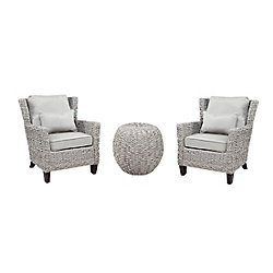 Hampton Bay Megan Grey Seagrass 3-Piece All-Weather Wicker Outdoor Patio Chat Set