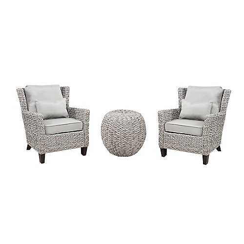 Megan Grey Seagrass 3-Piece All-Weather Wicker Outdoor Patio Chat Set