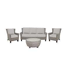 Megan Gray Seagrass Wicker 4-Piece Sofa Set