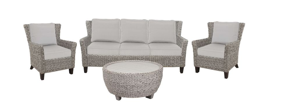 Hampton Bay Megan Grey Seagrass 4-Piece All-Weather Wicker Outdoor Patio Sofa Set