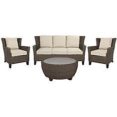 Megan 4-Piece Seagrass Wicker Patio Sofa Set in Brown