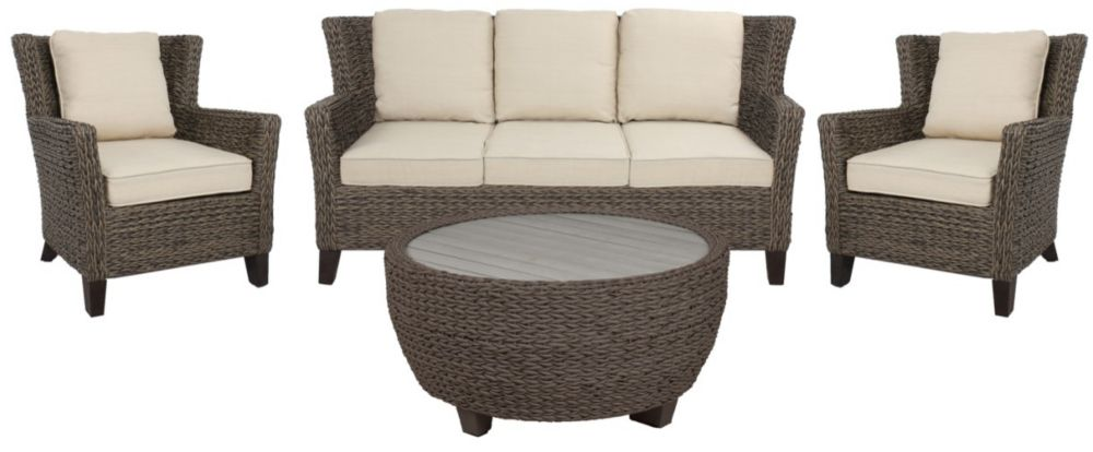 Hampton Bay Megan Brown Seagrass Wickerr 4 PC Sofa Set