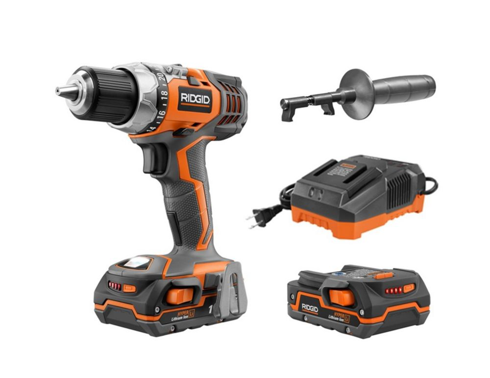 RIDGID X4 18V 1/2-Inch Hyper Lithium-Ion Cordless Drill/Driver Kit with (2) 1.5Ah Batteries