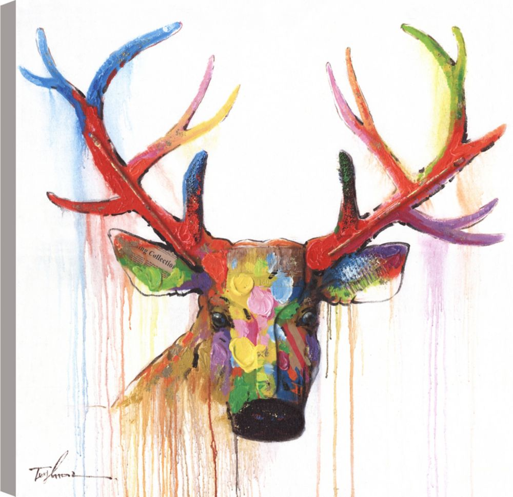 Art Maison Canada Deer Head, Animal Art, Canvas Print Wall Art Décor 24X24 Ready to hang
