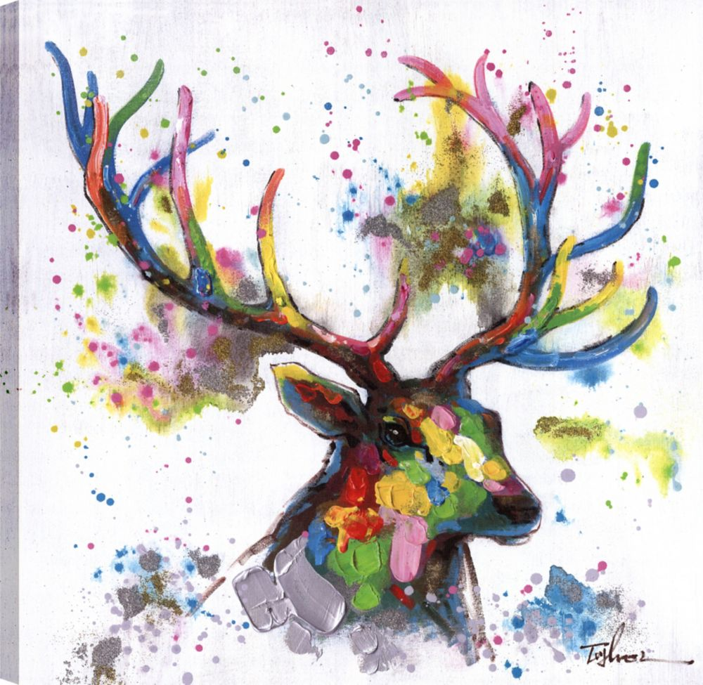 Art Maison Canada Deer Head II, Animal Art, Canvas Print Wall Art Décor 24X24 Ready to hang