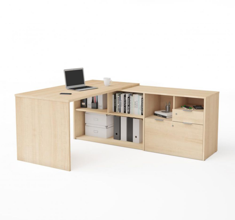 Bestar i3 Plus L-Desk with Two Drawers in Northern Maple