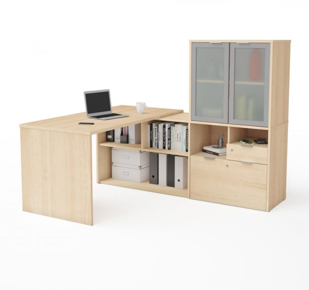 Bestar i3 Plus L-Desk with Frosted Glass Door Hutch in Northern Maple