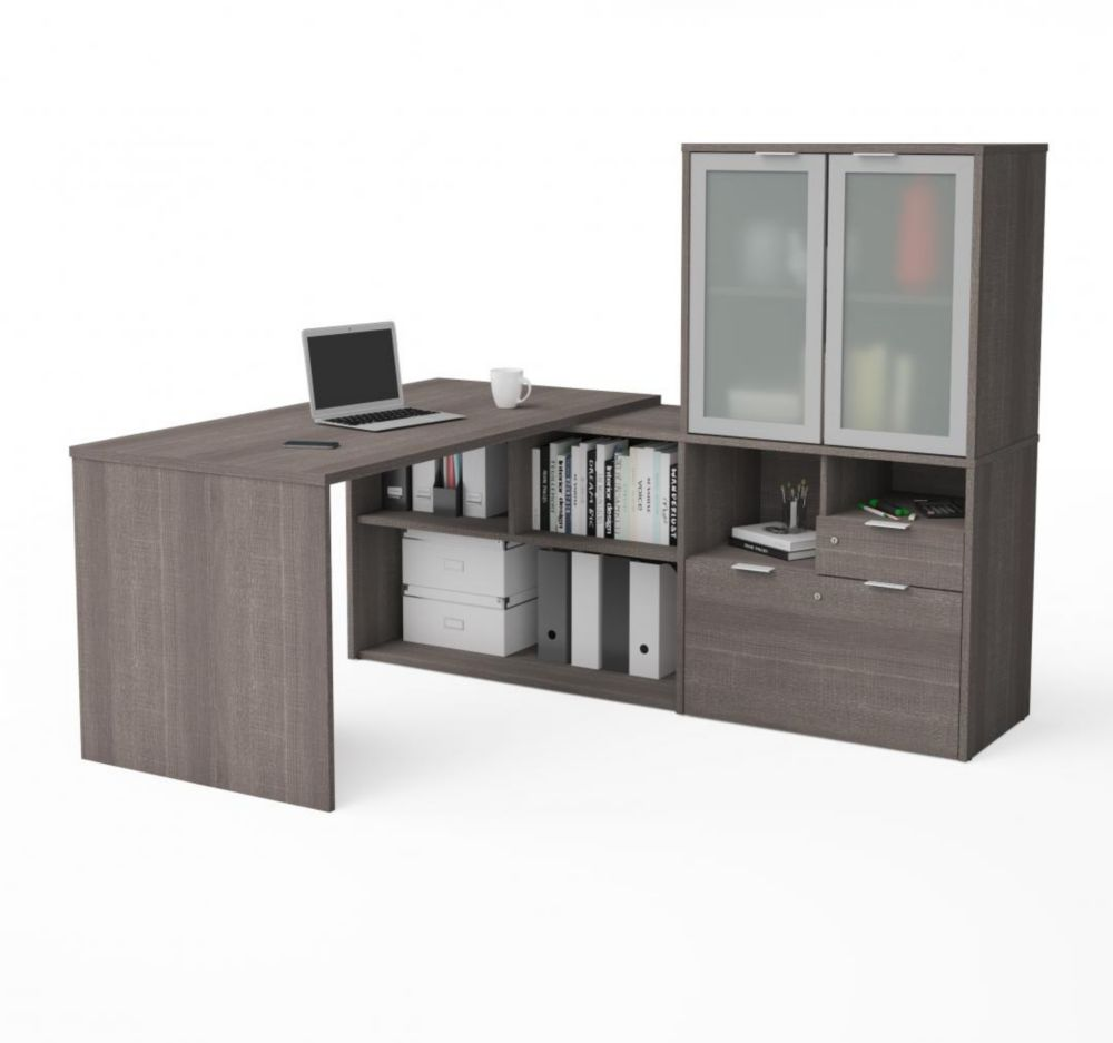Bestar i3 Plus L-Desk with Frosted Glass Door Hutch in Bark Gray