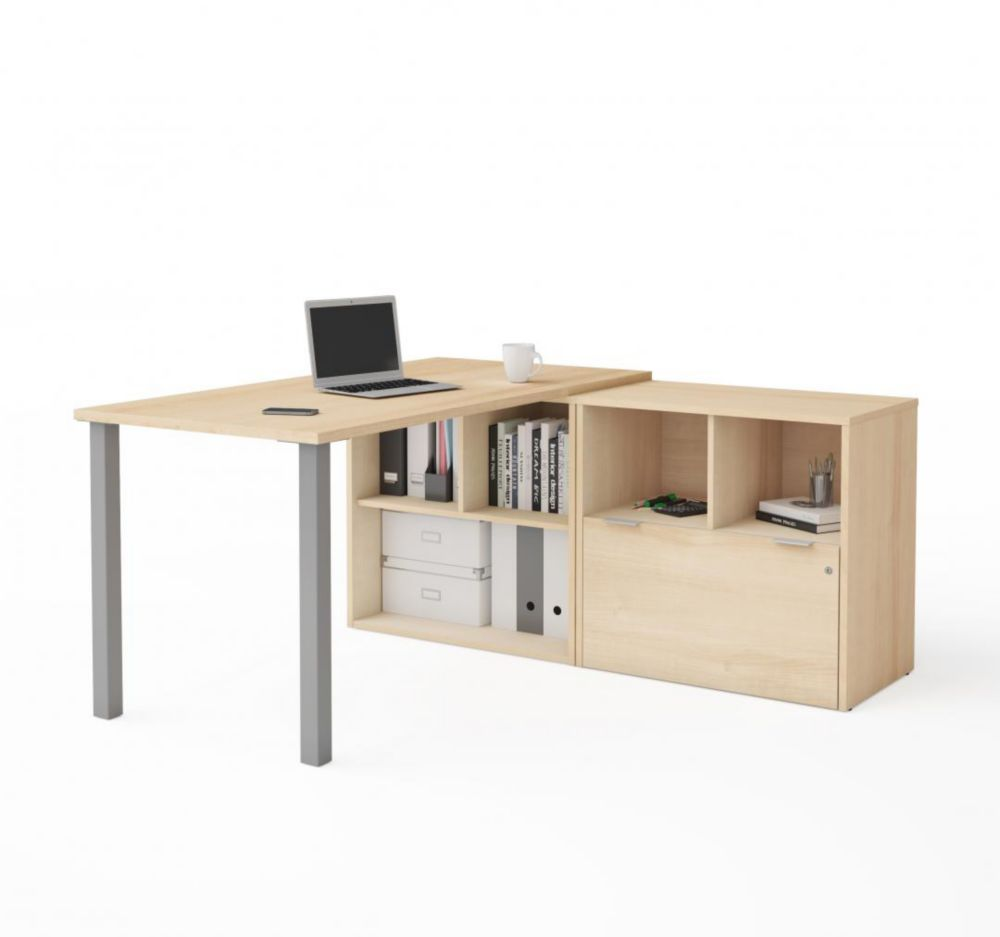 Bestar i3 Plus L-Desk with One File Drawer in Northern Maple