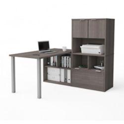 Bestar i3 Plus L-Desk with Hutch in Bark Gray