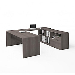 Bestar i3 Plus U-Desk with Two Drawers in Bark Gray