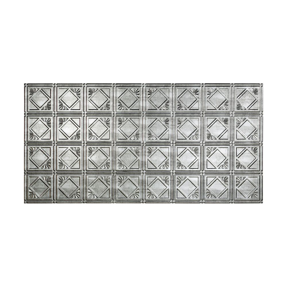 Fasade Traditional 4, 2x4 Glue Up Ceiling Tile, Crosshatch Silver Finish