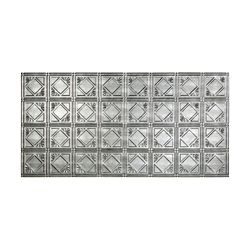 Fasade Tuile De Plafond À Coller 2x4, Traditional 4, Crosshatch Silver