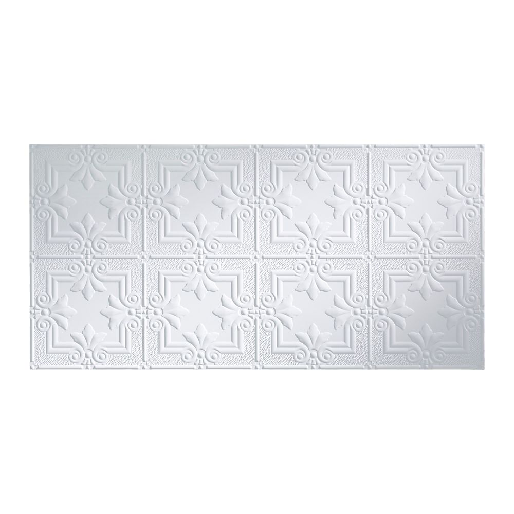 Fasade Regalia, 2x4 Glue Up Ceiling Tile, Matte Paintable White